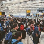 check-in lines at Heathrow Airport