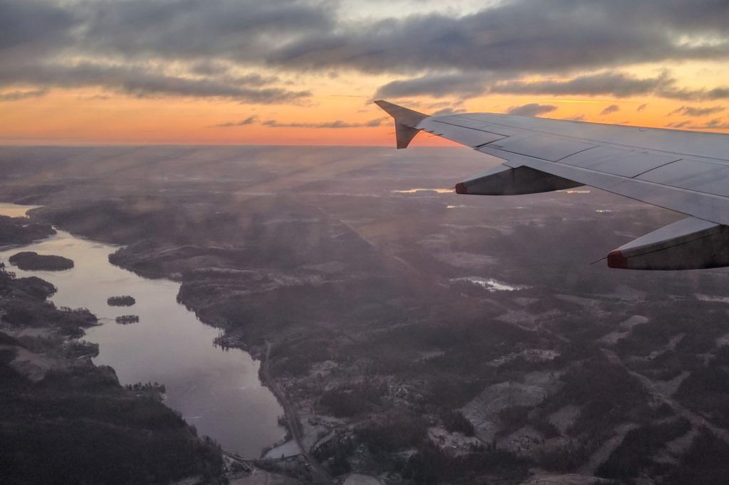 view of wintery Sweden from airplane