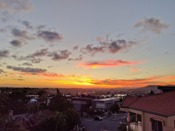 view of sunset from balcony