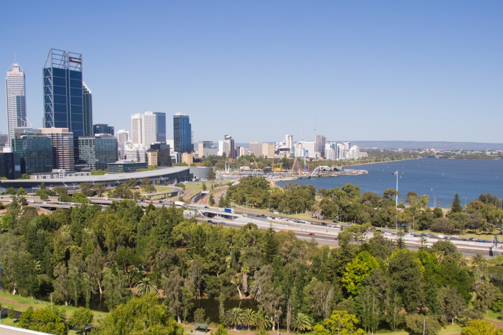 view of Perth from a hil