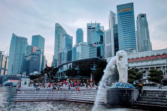merlion statue with skyscrapers in the background