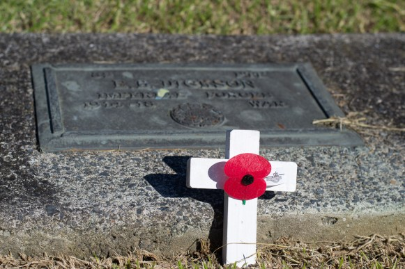 gravestone with a tiny white cross and red poppy
