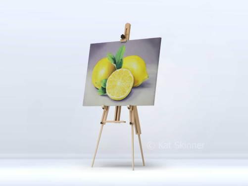 The Lemons Oil Painting Hung on Easel by Kat Skinner