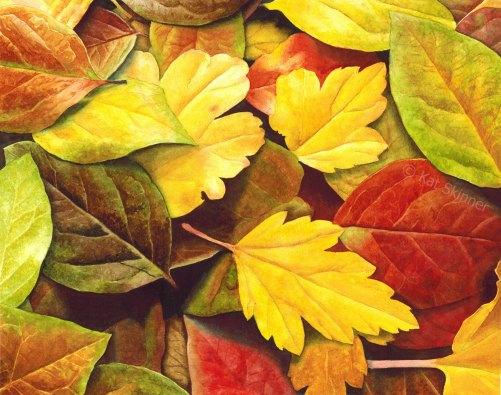 Autumn Leaves, Watercolor Art by Kat Skinner