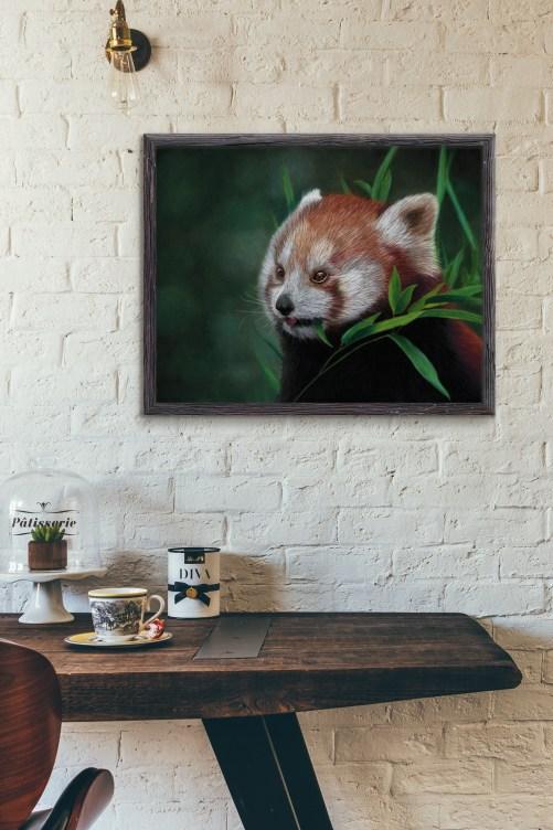 Red Panda Painting Hung in Room by Kat Skinner