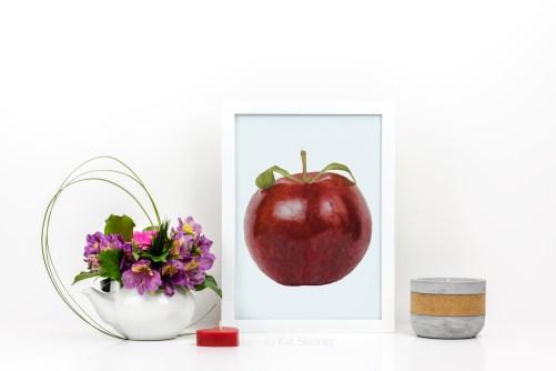 Apple Watercolor Painting In Frame, by Kat Skinner, WC031