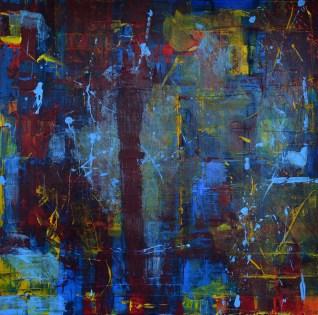 """36"""" x 36"""" acrylic on canvas $500 framed"""