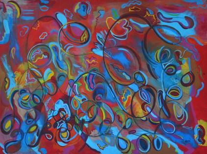 """40"""" x 30"""" acrylic & charcoal on canvas. $600 framed"""