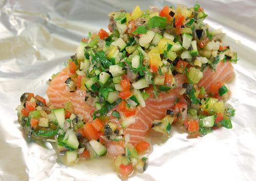 Marinade de légumes sur saumon fumé