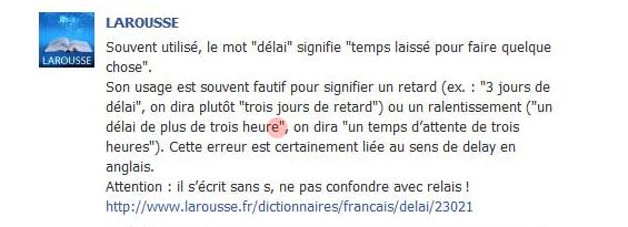 Capture de la page du Larousse sur Facebook