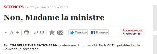 Madame la ministre