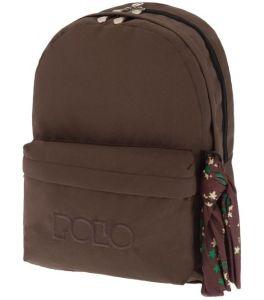 Polo Double Τσάντα Πλάτης Με Μαντήλι Καφέ 2018 9-01-235-36+ Δώρο Διορθωτική Ταινία Edding