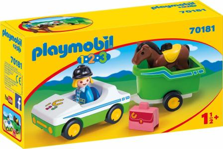 Playmobil 1.2.3 – Όχημα Με Τρέιλερ Μεταφοράς Αλόγου 70181