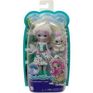 Mattel Enchantimals – Κούκλα Και Ζωάκι Sybill Snow Leopard & Flake GJX42 (FNH22)