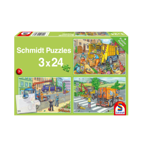 Schmidt Spiele – Puzzle 3 in 1 Carbage Truck, Tow Truck, Sweeper 24/24/24 Pcs 56357