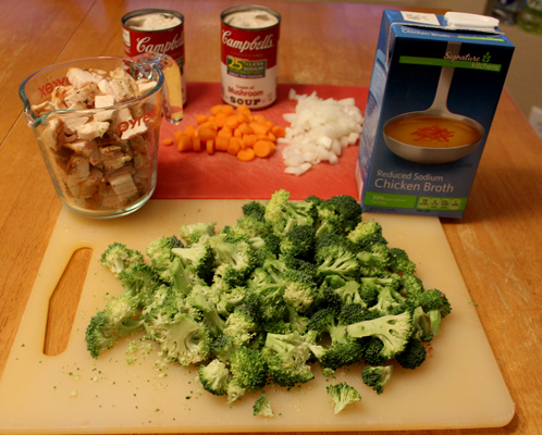 Ingredients for chicken and rice casserole