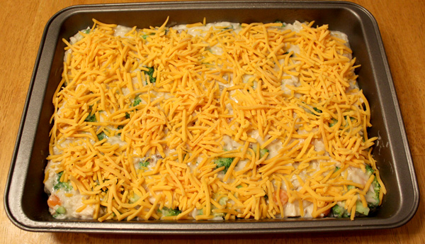 Chicken and rice casserole ready to bake