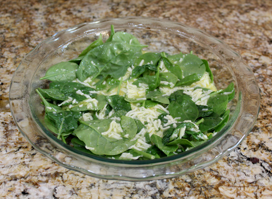 Add spinach to egg mixture