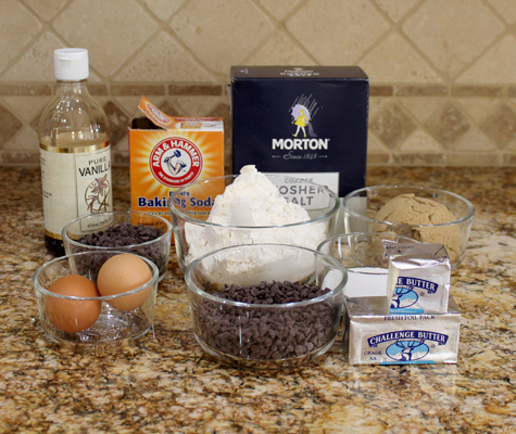 Ingredients for Chocolate Chip Cookie Bars
