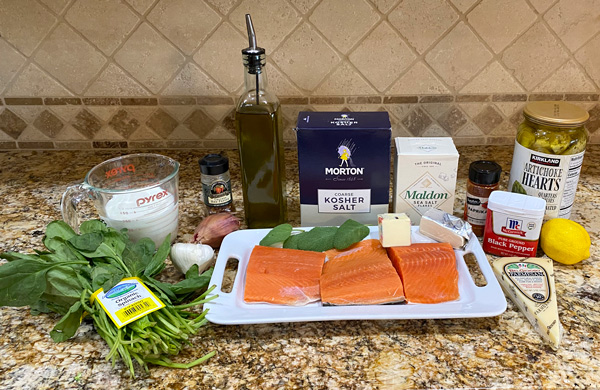Ingredients for Creamy salmon with spinach and artichoke hearts