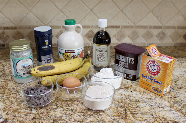 ingredients for double chocolate banana muffins
