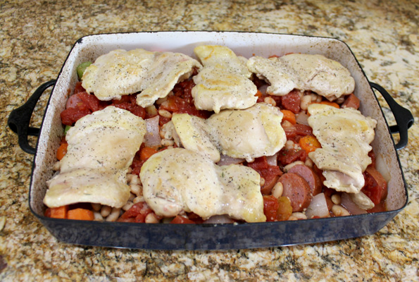 add chicken on top of vegetables