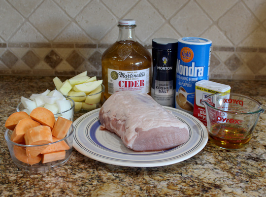 ingredients for Brittany loin of pork with cognac and cider gravy