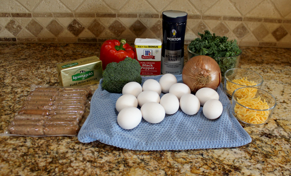 ingredients for keto breakfast sausage and kale frittata
