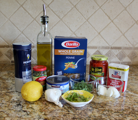 ingredients for whole wheat pasta salad with tuna and red peppers