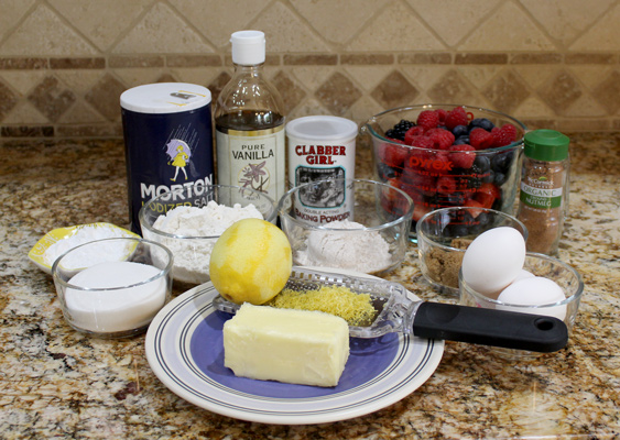 ingredients for summer berry buckle