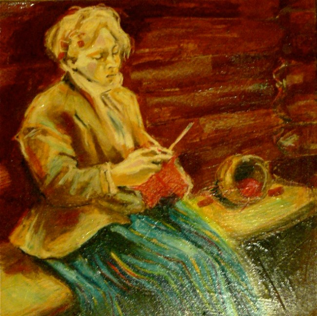 "K. Thorsen, 2000 (inspired from Anders Zorn's ""Stickande Kulla"" 1901), oil pastel on gyproc"