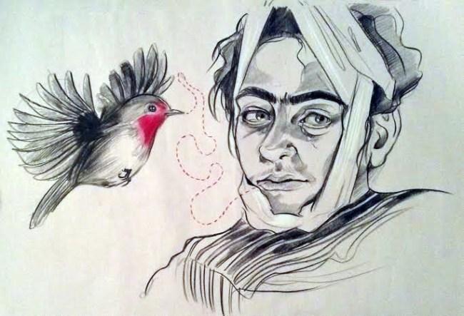 Frida Kahlo and Bird