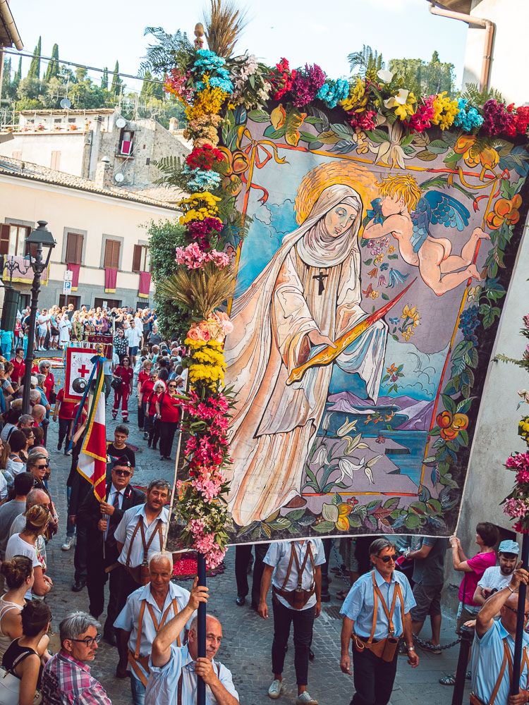 a banner carried in the Corpus Christi procession during the infiorata in Bolsena