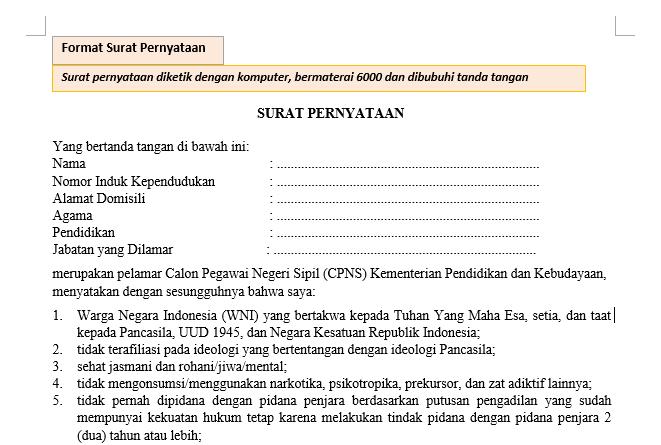 Format Surat Pernyataan CPNS 2019 Resmi dari Kemdikbud - Katulis