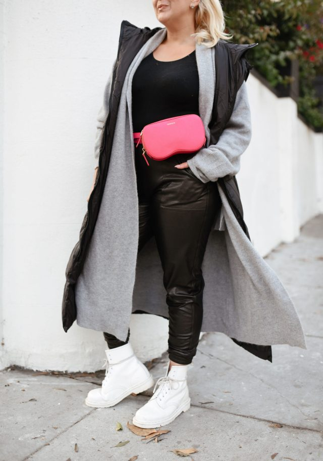 Spanx Leather-Like Jogger, Leather-like jogger, KatWalkSF, Kat Ensign, Spanx joggers, Spanx leather-like joggers, SKIMS bodysuit, Spanx, Senreve Coatigan, Senreve belt bag