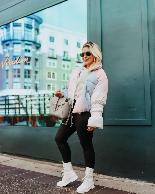 Pants Every Woman Should Own,Katwalksf wearing a rainbow ombre puffer and spanx leather leggings in Oakland.