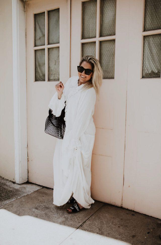 San Francisco fashion blogger Katwalksf wearing the Free People Sweet Darlin' Maxi Dress and Chloé woody sandals.