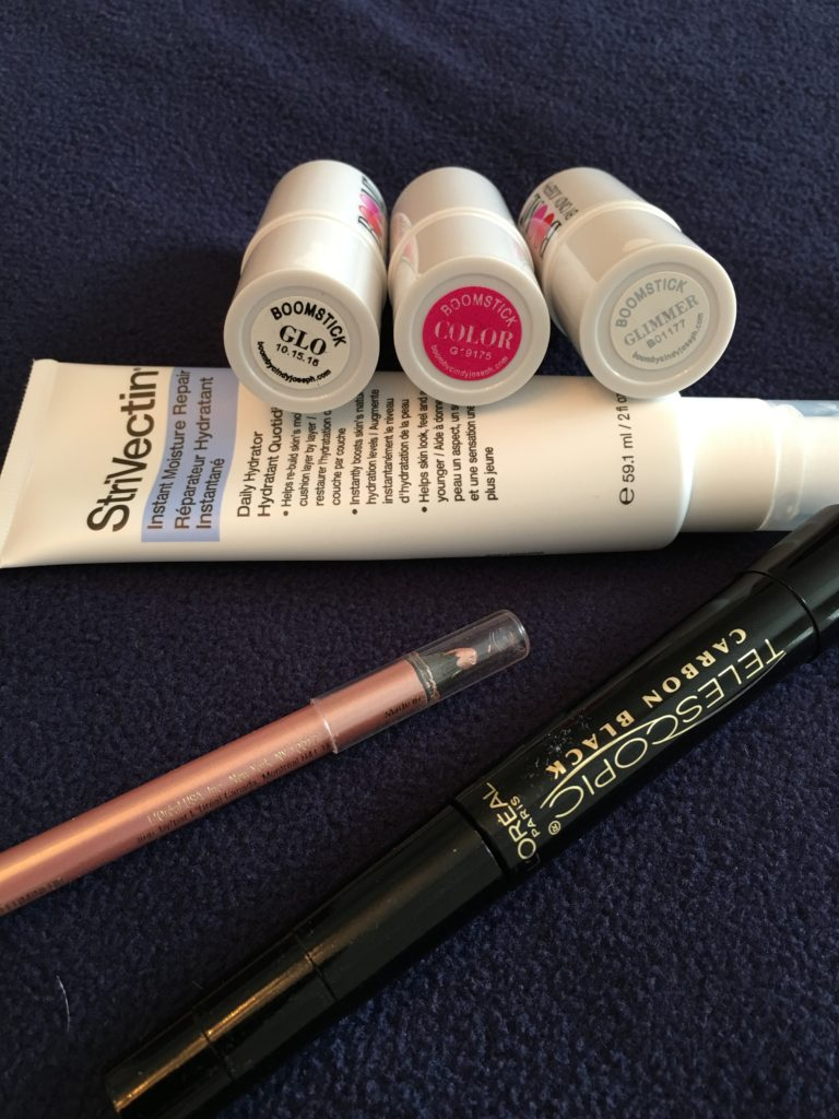 The only daily makeup products I am currently using: Boomstick Color & Glimmer, a neutral eyeliner and mascara.