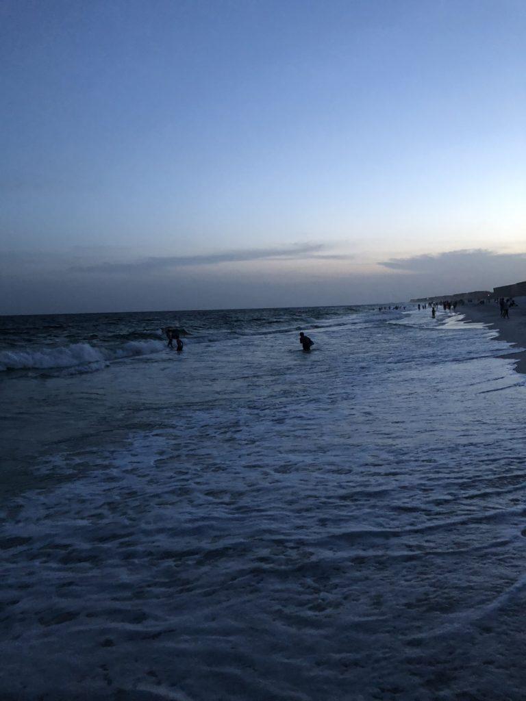 A sunset walk on the beach.