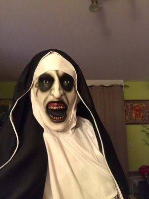 The Nun Horror Valak Mask With Headscarf Full Face For Halloween photo review