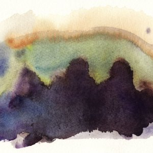 Watercolour Abstract Bush Dam