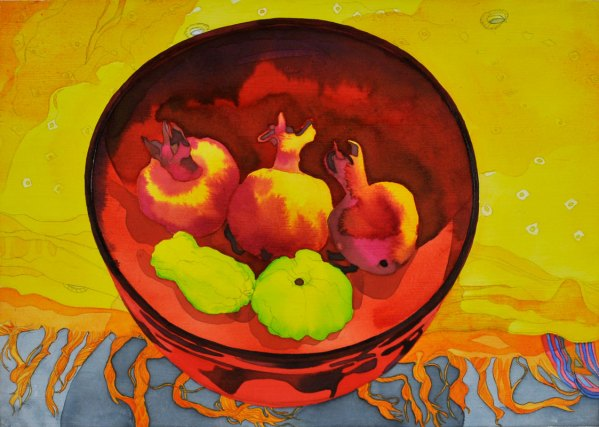 Acrylic Ink on Board still life painting Pomegranates and Quince