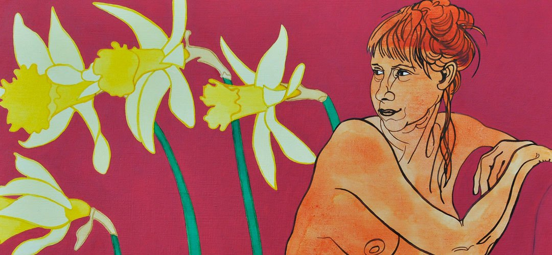 Daffs: acrylic ink on board painting by Katy Hood