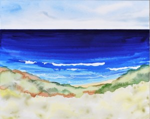 Blue Crescent: Storm Bay. Framed Watercolour & Ink on Archival Board.