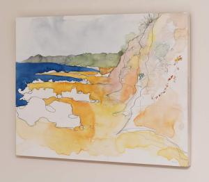 Colours Surf Beach, Watercolour on Wood, side view