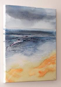 Dawn Sea, Watercolour & Pen on Canvas, right side