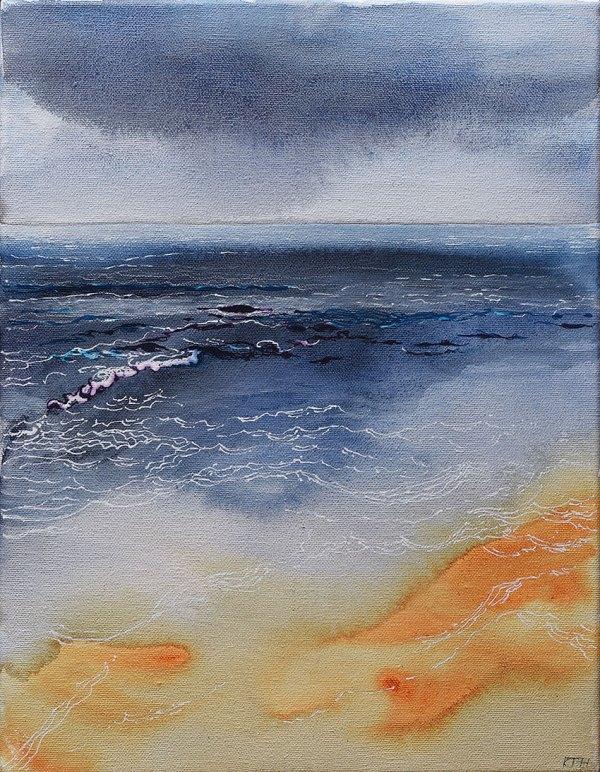 Dawn Sea, Watercolour & Pen on Canvas