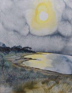 Golden Sea, Red Rocks Beach. Watercolour & Artist's Pencil on Wood