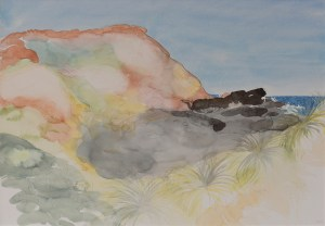 Pink Cliff. Framed Watercolour, on 100% cotton watercolour paper.