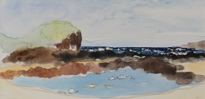 Sheltered Rock Pool, Berrys Beach. Framed Watercolour on 100% cotton watercolour paper.
